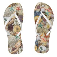 Fancy Seashells at The Beach Flip Flops
