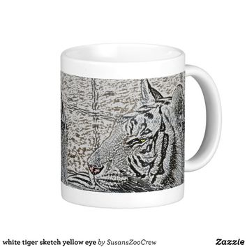 white tiger sketch yellow eye mug from Zazzle.com