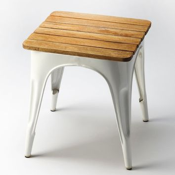 Butler Junction White Iron & Wood Stool