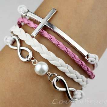 Infinity bracelet, pearl cross bracelet, white leather personalized gifts and blessing