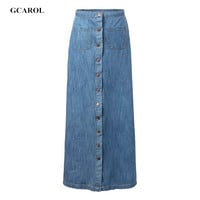 GCAROL Women Euro Style Denim Skirt Single-Breasted Jeans Skirts Fashion Casual Summer Spring Autumn Long Skirt