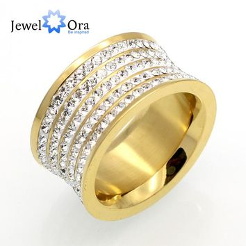 5 Row Cubic Zirconia 11mm Width Stainless Steel Rings For Women  Gold Color Fashion Jewelry Best Friend Gifts(JewelOra RI102381)