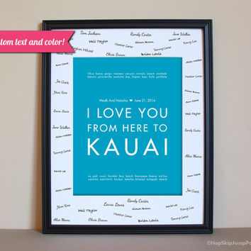 Hawaii Wedding Guest Book Alternative Poster - Travel - Kauai - Unframed - MADE TO ORDER - Use Your Text/Colors