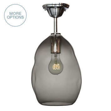 Bubble Smoke Grey Hand Blown Glass Pendant Light- Downrod