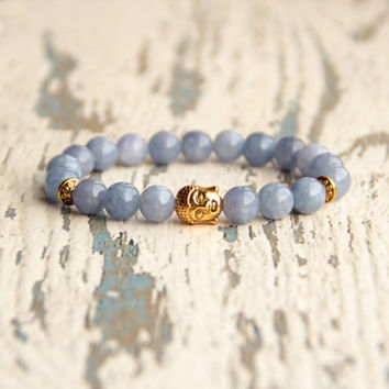 Buddha bracelet gemstone bracelet women protection mom gifts for her yoga bracelet beads blue gold bracelet meditation jewelry aquamarine
