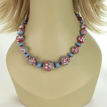 Floral  Beaded Necklace - Statement Necklace - Beadwork Necklace - Polymer Clay Jewelry  - Art Jewelry - Clay Jewelry - Clay  Beads