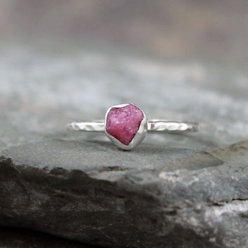 Uncut Raw Rough Red Ruby Ring  Sterling Silver by ASecondTime