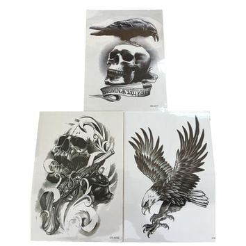 3Pcs Flying Eagle Henna Fake Tattoo Gun Skull 3D Waterproof Tattoo Sticker Robot Arm Designs Temporary Tattoo Sleeve Body Art
