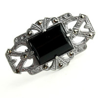 Antique Black Onyx and Marcasite Brooch