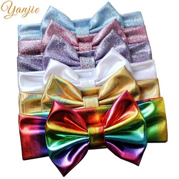 "1PC 2018 Girl 5"" Metallic Hair Bow Shining Elastic Headbands European Hair Style Accessories For kids Headwrap Bandeau For Party"
