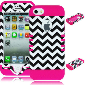 iPhone 5, 5S, 5th Gen Hybrid Chevron  Case + Pink Silicone Cover
