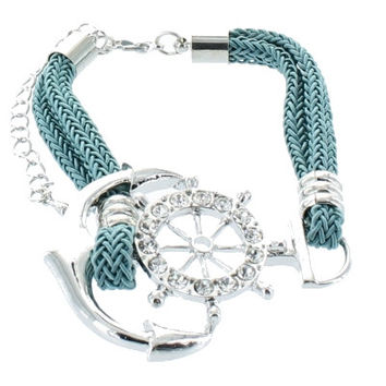 Trendy Nautical ANCHOR Wheel Aqua Rope Adjustable Silver Bracelet Costume Jewelry Gift