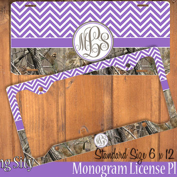 Purple Chevron Camo Monogram License Plate Frame Holder Metal Wall Sign Tags Personalized Custom Vanity Plate