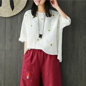 Yesno E15 Women Loose Tops Blouse 100% Linen Causal Button-Up Handcraft Embroidery Dip Hem 3/4 Sleeve Ladies Shirts Blouses