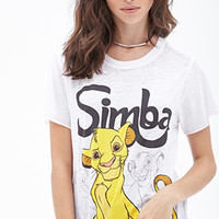 FOREVER 21 Simba Burnout Tee White/Black