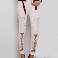 Laced Up Suede Rhi Rhi Leggings - Khaki