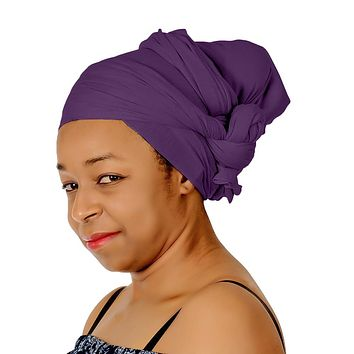 🎁 ONE DAY SALE Novarena Purple Solid Color Head Wrap Stretch Long Hair Scarf Turban Tie Kente African Hat Jersey Knit Headwrap