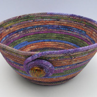 Handmade Coiled Fabric Basket/Bowl, earth colors