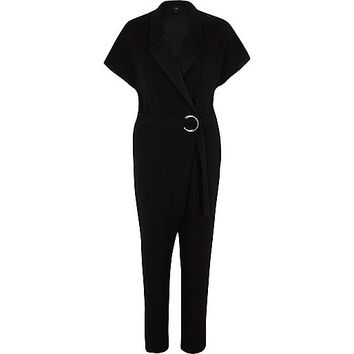 Black short sleeve tuxedo jumpsuit - Jumpsuits - Rompers / Jumpsuits - women