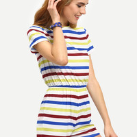 Multicolor Short Sleeve Striped Jumpsuit -SheIn(Sheinside)