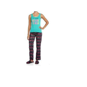 """Women's 3Pc Pj Set, Large, Turquoise/Black """"Nothing To Wear"""" Body Candy"""