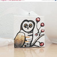 CIJ 15% OFF - Owl Christmas Tree Ornament, Owl Art Acrylic Painting, Christmas Tree Decor, Tree Decoration with Gift Box