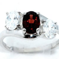 2 Carat Genuine Garnet With Zirconia Ring .925 Sterling Silver Rhodium Finish White Gold Quality