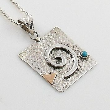 Turquoise Two Tone Sterling Silver Spiral Pendant