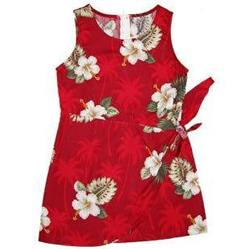 Lava Red Hawaiian Girl's Sarong Floral Dress