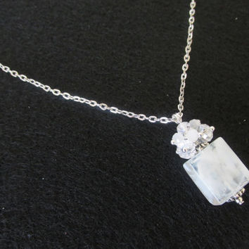 White Stone Necklace - Handmade Clear Square Crystal Charm Necklace - Manitee Chain Necklace - Cube Charm Jewelry - Birthday Gifts for Her