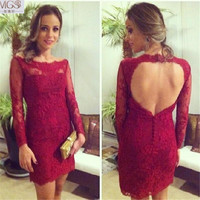 New Sexy 2016 MGS Burgundy Lace Long Sleeves Open Backless Short Mini Cocktail Dresses Prom Party Vestido De Festa CharmingGown