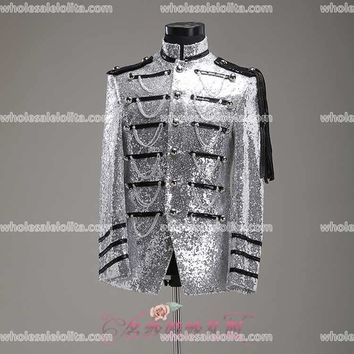 High-End Customizable Silver Glam Jacket, Medieval Period Cosplay