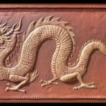 China drogan, 50x76, leather wall hanging, handmade, artwork, home, legendary creation, dragon secret, dragon  power, rich brown, asia