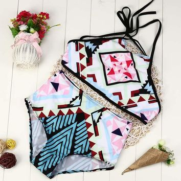 Geometric Print High Waist Swimsuit