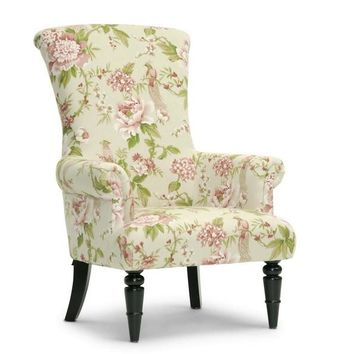 Baxton Studio Kimmett Beige and Pink Linen Floral Accent Chair Set of 1