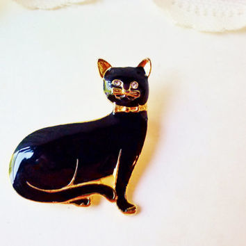 New Black Cat Brooch Vintage Crystal Rhinestone Eyes NIB Gold Enamel Metal Animal Figure Pin Halloween Birthday Cat Lovers Costume Jewelry