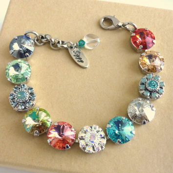 "NEW genuine Swarovski crystal bracelet, 12mm ""Carnival"" collection, designer inspired, Siggy exclusive, GREAT PRICE"