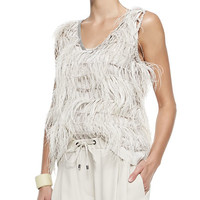 Long Velour/Shearling Vest, Sleeveless Ostrich Feather Blouse & Pleated Silk Crepe Culottes