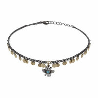 Disc and Charm Choker - Turquoise