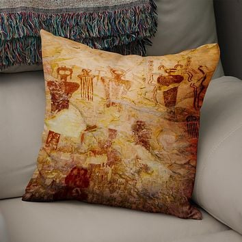 Ute Native American Pictographs Utah Throw Pillow Cover- 5 Sizes