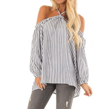 2018 Fashion ladies blouses shirts Women Stripe Off the Shoulder Halter Long Sleeve Blouse Pullover Tops Shirt womens clothes