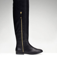 Flat zip-up boots -