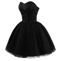 Women's Sweetheart Tulle Short Homecoming Party Dresses L Black
