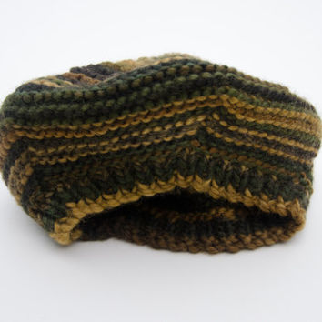 Women's Hat - 100% Wool - Stripey Hat - Handknitted Beret - Green / Brown Winter Accessories - Hand Knit Hats - Chunky Knit Hat