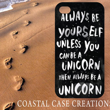 Apple iPhone 4 4G 4S 5G Hard Plastic Cell Phone Case Cover Original Trendy Stylish Unicorn Quote Design