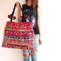 Hmong Bag Ethnic Old Vintage Style Hobo Boho Tote Thai Shoulder Shoppers Bag