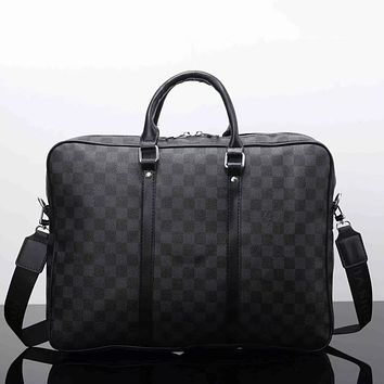 Louis Vuitton Men Fashion Leather File Bag Tote Briefcase Crossbody Shoulder Bag