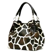 FASH Giraffe Print Faux Leather Tote Shoulder Handbag,Brown,One Size