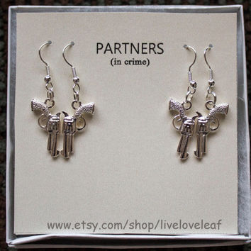 Partners in crime matching Earrings set - 2 sets of Silver Guns Earrings, Silver gun earrings, BFF jewelry, Sisters, guns and handcuffs