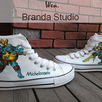 Teenage Mutant Ninja Turtles Studio Hand Painted Shoes 56.99Usd ,Paint On Custom Converse Shoes Only 99Usd,Buy One Get One Phone Case Free